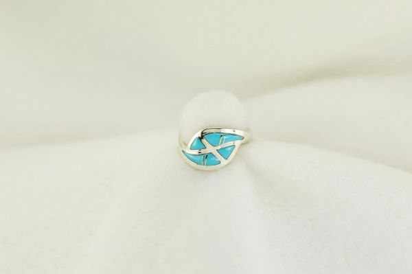 Sterling silver turquoise inlay ring. R176