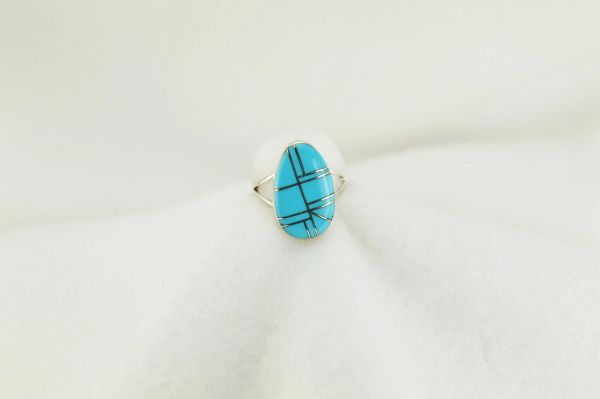 Sterling silver turquoise inlay ring. R177