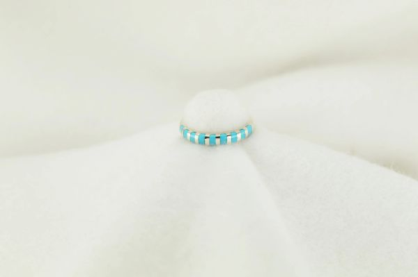 Sterling silver turquoise inlay ring. R179