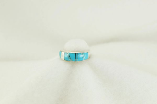 Sterling silver turquoise inlay ring. R182