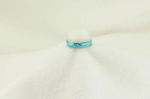 Sterling silver turquoise inlay ring. R184