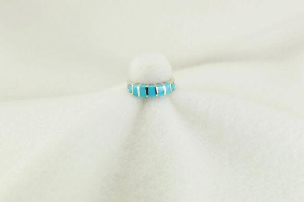 Sterling silver turquoise inlay ring. R187