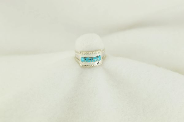 Sterling silver turquoise inlay ring. R188