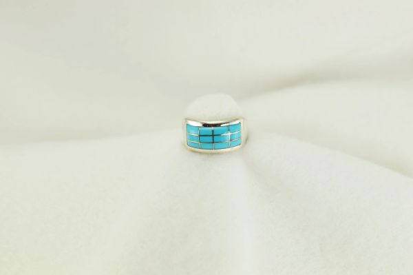 Sterling silver turquoise inlay ring. R189
