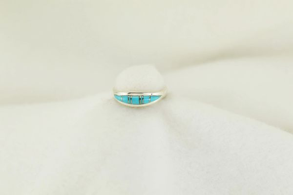 Sterling silver turquoise inlay ring. R190