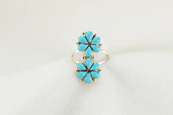 Sterling silver turquoise inlay ring. R192