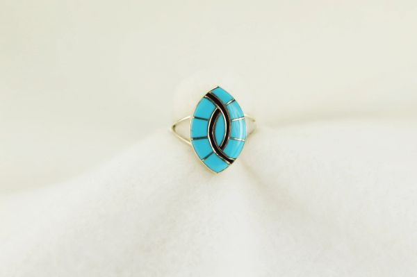 Sterling silver turquoise inlay ring. R196