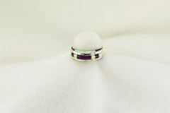 Sterling silver sugilite and white opal inlay ring. R197