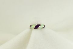 Sterling silver sugilite and white opal inlay ring. R200