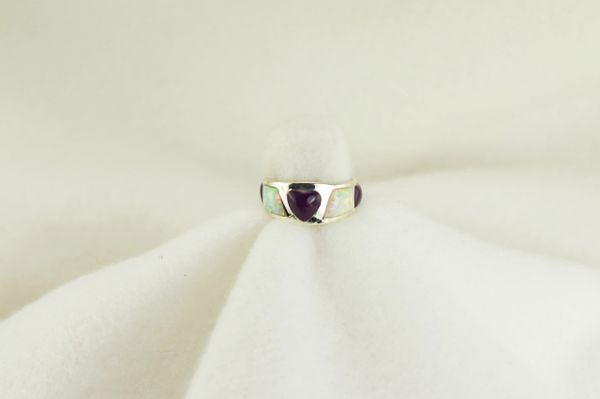 Sterling silver sugilite and white opal inlay ring. R201