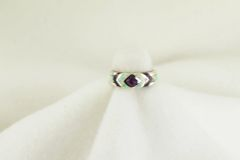 Sterling silver sugilite and white opal inlay ring. R202