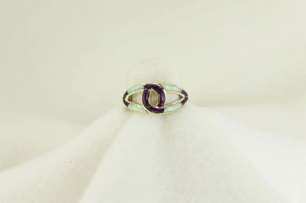 Sterling silver sugilite and white opal inlay ring. R203