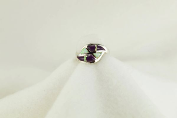 Sterling silver sugilite and white opal inlay ring. R204