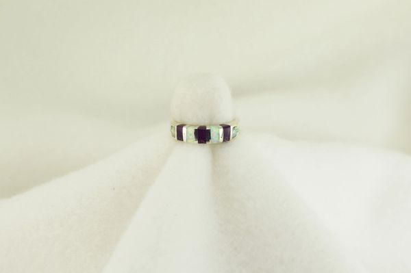 Sterling silver sugilite and white opal inlay ring. R205