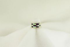 Sterling silver sugilite and white opal inlay ring. R206