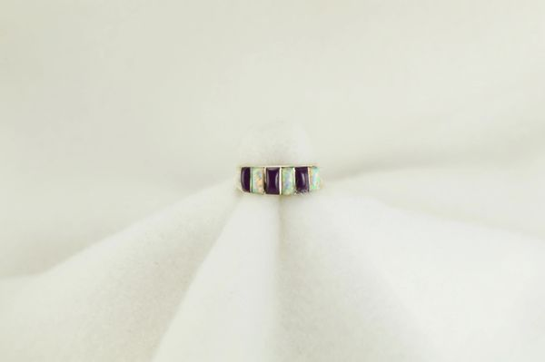 Sterling silver sugilite and white opal inlay ring. R207
