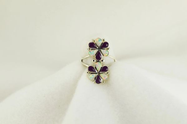 Sterling silver sugilite and white opal inlay ring. R208