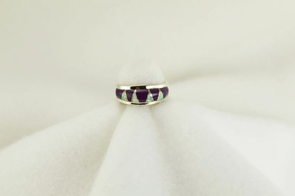 Sterling silver sugilite and white opal inlay ring. R209