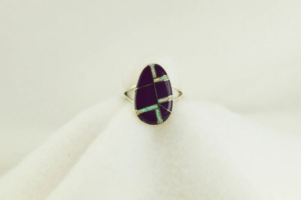 Sterling silver sugilite and white opal inlay ring. R210