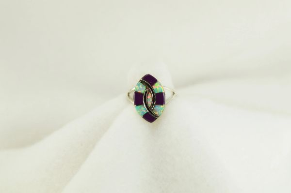 Sterling silver sugilite and white opal inlay ring. R211