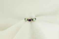 Sterling silver sugilite and white opal inlay ring. R212