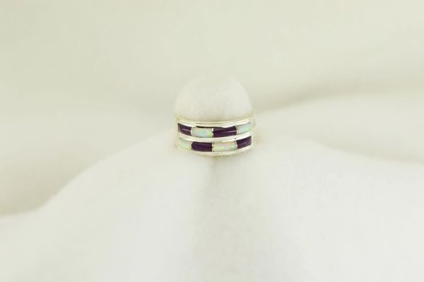 Sterling silver sugilite and white opal inlay ring. R213