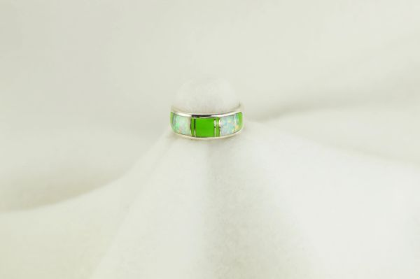 Sterling silver gaspeite and white opal inlay ring. R214