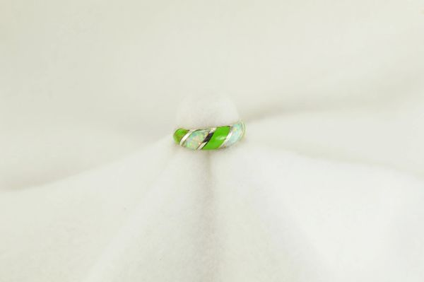 Sterling silver gaspeite and white opal inlay ring. R219