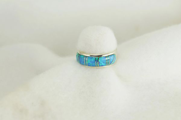 Sterling silver blue opal inlay ring. R221
