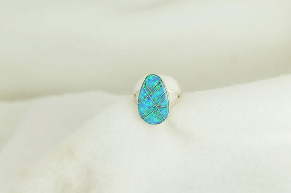 Sterling silver blue opal inlay ring. R223