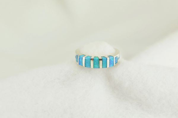 Sterling silver blue opal inlay ring. R233