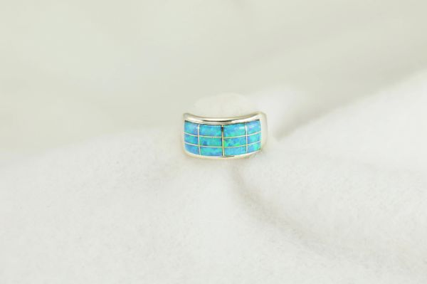 Sterling silver blue opal inlay ring. R235