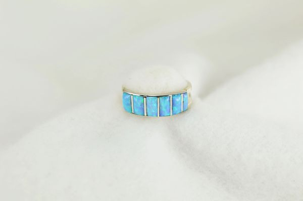 Sterling silver blue opal inlay ring. R237