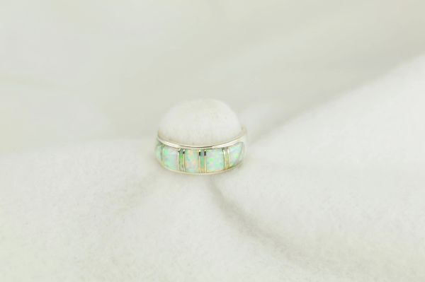 Sterling silver white opal inlay ring. R244