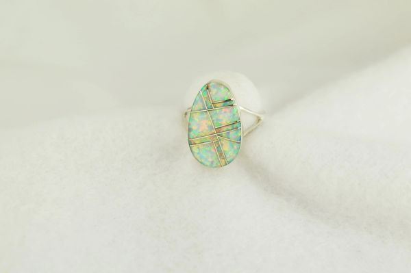 Sterling silver white opal inlay ring. R246