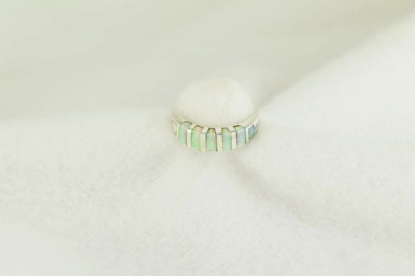 Sterling silver white opal inlay ring. R256