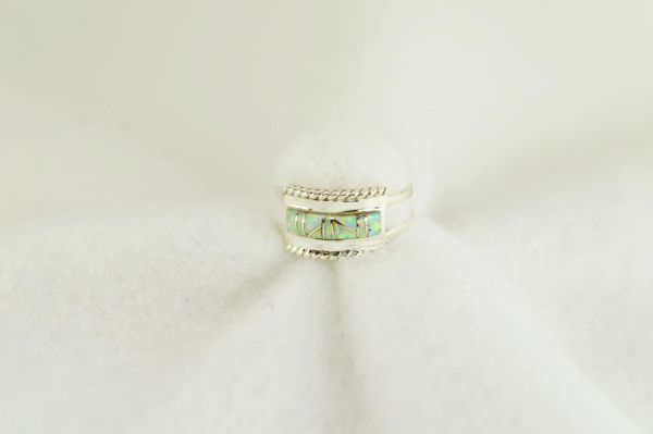 Sterling silver white opal inlay ring. R257