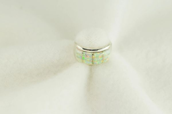 Sterling silver white opal inlay ring. R258