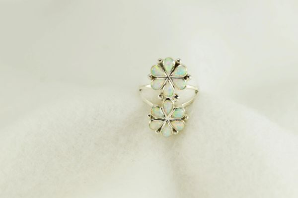Sterling silver white opal inlay ring. R261