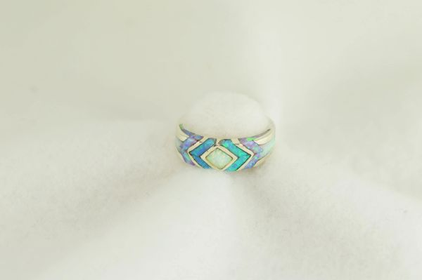 Sterling silver white, pink and blue opal inlay ring. R266
