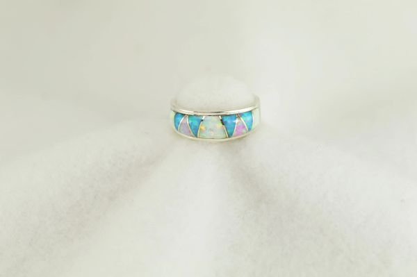 Sterling silver white, pink and blue opal inlay ring. R267