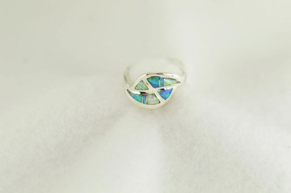Sterling silver white, pink and blue opal inlay ring. All rings come in size 5, 6, 7, 8 and 9. R268