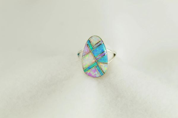 Sterling silver white, pink and blue opal inlay ring. R269