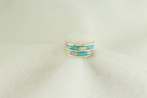 Sterling silver white, pink and blue opal inlay ring. All rings come in size 5, 6, 7, 8 and 9. R270