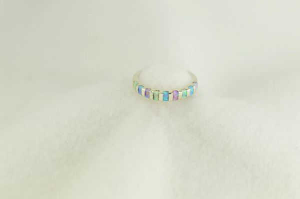 Sterling silver white, pink and blue opal inlay ring. R271