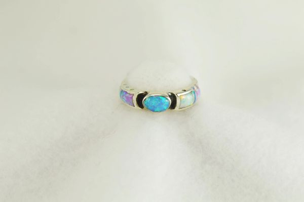 Sterling silver white, pink and blue opal inlay ring. R272