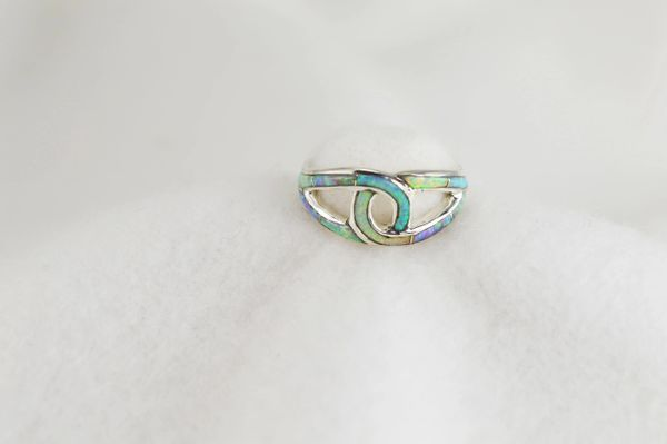 Sterling silver white, pink and blue opal inlay ring. R273