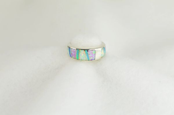 Sterling silver white, pink and blue opal inlay ring. R274