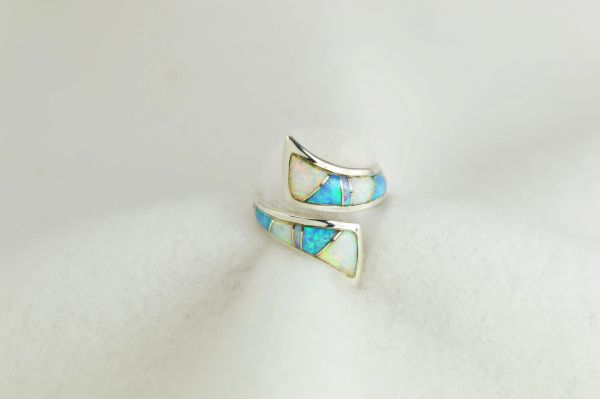 Sterling silver white, pink and blue opal inlay ring. R275