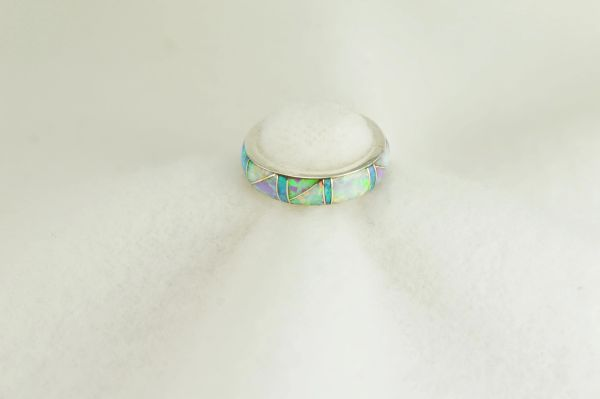 Sterling silver white, pink and blue opal inlay ring. R276